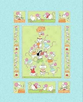 Susybee..norton The Mouse Quilt Panel...blue...in Stock...free Post