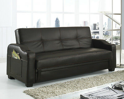 Storage Sofa Bed with Cupholders Black Brown White Red Faux Leather Living Room