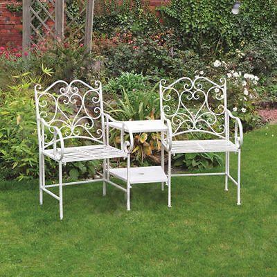 2 Seater White Metal Chair Garden Furniture Patio Love Seat Outdoor & Table