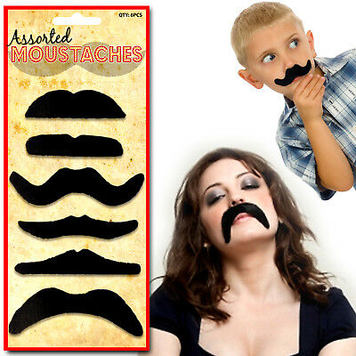 6 x FANCY DRESS UP MOUSTACHE SET FAKE TASH STAG HEN BIRTHDAY PARTY BAG FILLERS