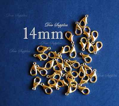 100 pcs lobster claw clasps golden color 14mm x 8mm, hole 1.5mm high quality