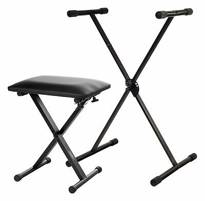 Set Support En X Piano Stand Siege Pied Banquette Banc Clavier Synthétiseur Neuf