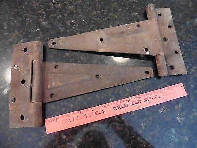 2 Antique Cast Iron Door Barn Hinge Hardware strap style Rusty patina Vintage