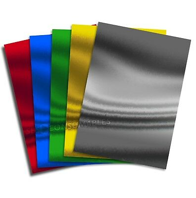 A4 Shiny Mirror Foil Card 220gsm Thick Single Sided. 5 Colours. Christmas Crafts
