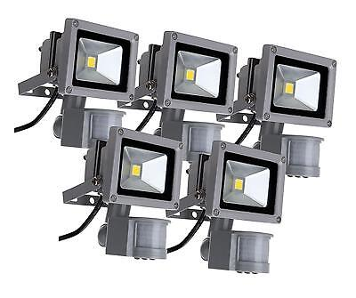 5x LUMIERE PROJECTEUR LED LAMPE 4500K SENSEUR MOUVEMENT D'EXTERIEUR IP65 10W SET