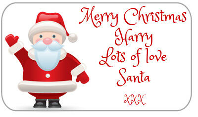 63 Personalised Christmas From Santa With Love Gift Present Stickers Labels