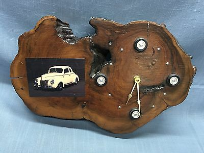 Vintage Burl Wood Custom Made Clock 1940's FORD DELUXE COUPE