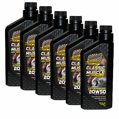 Champion Motor Classic & Muscle Car Engine Oil 20W-50 Synthetic Blend 6 Quarts