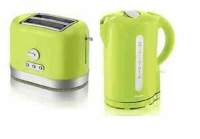 SWAN 1.7L CORDLESS  KETTLE + SWAN TWO SLICE ELECTRIC  TOASTER SET Lime GREEN