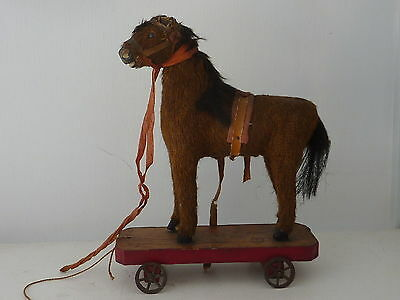 """Vintage horse pull toy carved wood covered w/ mohair? leather ears Red Base 7""""H"""
