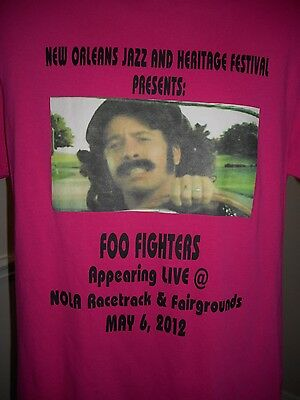 RARE - pink 2012 New Orleans Jazz Fesitval FOO FIGHTERS Promo TSHIRT mens Medium