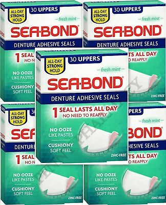 Sea-Bond Denture Adhesive UPPERS 30 ct ( 5 boxes )