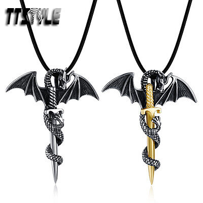 Quality TTstyle Stainless Steel Fly Dragon Pendant Necklace Silver/Gold NEW