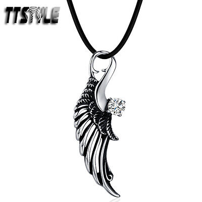 TTstyle 316 Stainless Steel Angel Wing Pendant Necklace Clear CZ NEW Arrival