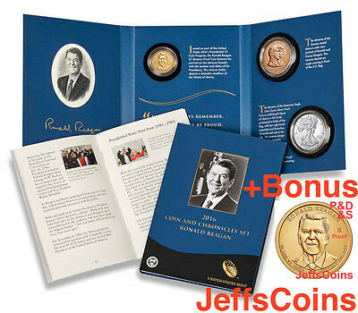 2016 P D S S W Ronald Reagan Presidential Coin & Chronicles Set Reverse 16PA PDS