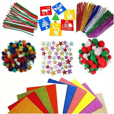 Tinsel Glitter Pipe Cleaners Pom Poms Foam Self Adhesive Christmas CRAFT Xmas
