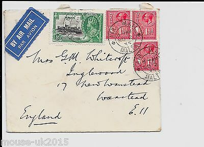 MALTA 1935 5d RATE AIRMAIL COVER TO UK