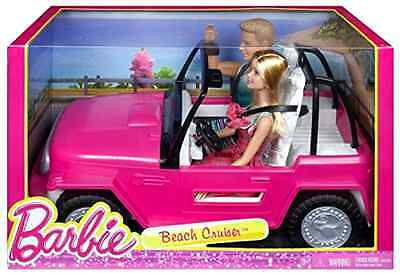 Doll Car Barbie Beach Cruiser and Ken Character Pretend Play Collectible Toys