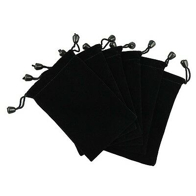 New 6 Pouches Black Velvet Drawstring Jewelry Gift Phone Holder Packet Bags 5'