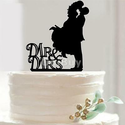 MR & MRS Wedding Party Silhouette Gâteau Topper Bride and Groom Acrylique