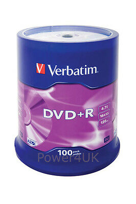 Verbatim DVD+R 16x 4.7GB Blank DVDs Media Disks 100 Spindle Pack