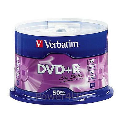 Verbatim DVD+R 16x 4.7GB Blank DVDs Media Disks 50 Spindle Pack