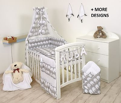BABY BEDDING SET COT COT BED 3,5,9 Pieces PILLOW DUVET COVER BUMPER CANOPY +more