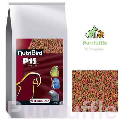 10KG NUTRIBIRD P15 TROPICAL PARROT PELLETS Balanced Complete Food Versele Laga