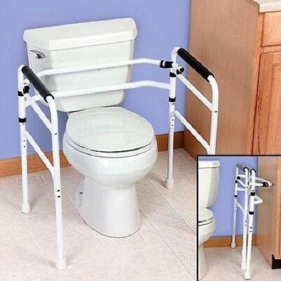 Folding Toilet Support * Safety Disability Aid Handle Grab Grip Bar Frame Rail