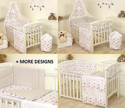 PINK STARS/GREY BABY BEDDING SET COT COT BED 3,5,9 PSC COVER BUMPER CANOPY+more