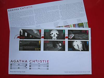Agatha Christie First Day Cover Souvenier 6 STAMPS Royal Mail 2016 Whodunnit