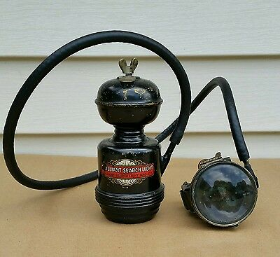 Antique 2pc Carbide Coal Mine Light Lamp Brilliant Mfg Co 1914 Made in Chicago