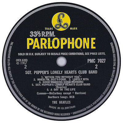 Beatles. Sergeant Peppers Lonely Hearts. Record Label Vinyl Sticker. Parlophone.