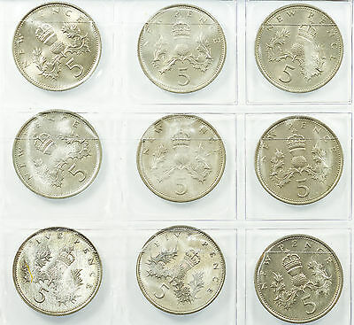 Great Britain, Decimal 5P Five Pence Collection, 9 Coins, 1968-1989