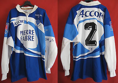 Maillot Rugby CASTRES Olympique FORCE XV vintage Porté n° 2 Pierre Fabre – XXL
