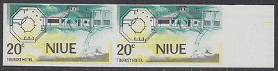 NIUE - 1975 20c Tourist Hotel Imperf and Blue Omitted (Pair) Error - UM / MNH