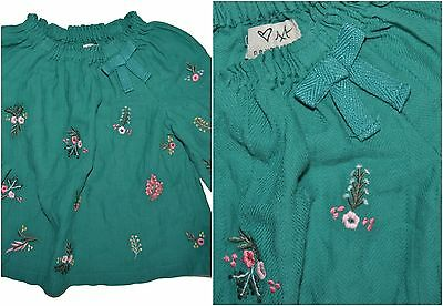 Next Baby Girl Green Floral Top Shirt Blouse Age 3-6 Months Eu 74Cm Cotton
