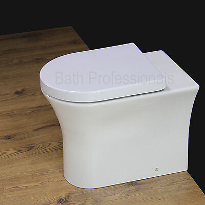 Toilet Bathroom Back to Wall Ceramic Rimless Comfort Height Soft Close Seat B16