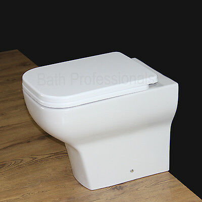 Toilet WC Bathroom Back to Wall Square Ceramic Heavy Duty S C Seat Cover B17