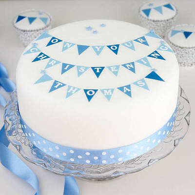 Boys Christening Cake Decoration Kit Topper any name on bunting, stars & ribbon