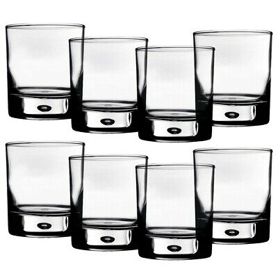 Rocks Glasses 10 oz. Bubble-Bottomed Old Fashioned Lowball Round - Set of 8
