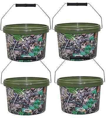 1 2 3 4 Camo 10L Round Bait Bucket With Metal Handle And Tight Lid For Boilies