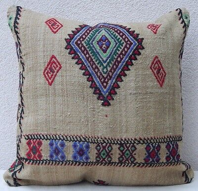 20x20 inch Aztec Pattern Vintage Turkish Woven Large Boho Kilim Rug Pillow Cover