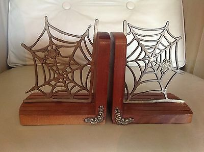 Vintage Bookends Spider Webs Brass Wood Book Ends Enesco Dated 1979 Pair