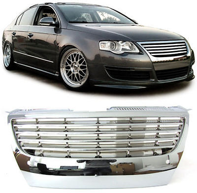Chrome Debadged Sports Grill With Pdc For Vw Passat B6 3C2 3C5 03/2005-7/2010