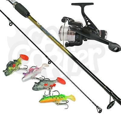 Spinning 6ft 2PC Rod & Reel Set Up With :Line & 4 Soft Bait Lures Fishing Tackle