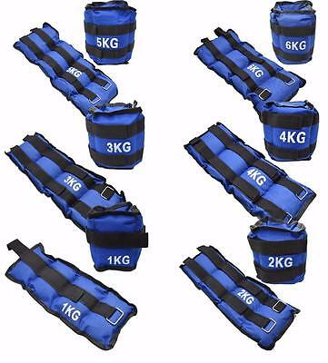 Blue Adjustable Leg 2 Strap Ankle Wrist Weights Running Fitness Strength Gym x2