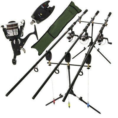 Complete Carp Fishing 3 x Rod and Reel Set Up With Pod Indicator And Bite Alarms