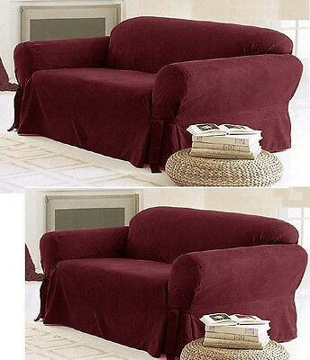 Solid Suede Couch Covers 3 Piece Burgundy Slipcover Set Sofa Loveseat Chair
