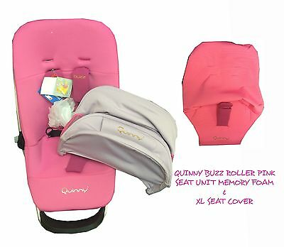 Quinny Buzz Seat unit & xl seat cover & Sun Canopy New with tags on Roller Pink